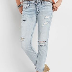Silver Light wash distressed boyfriend jeans 27x25